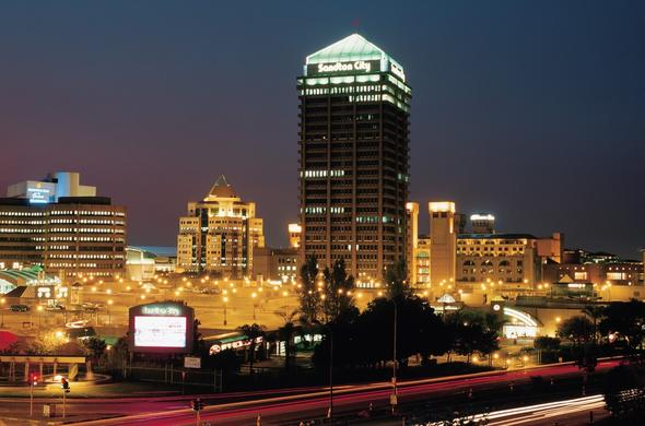 A view of Sandton City shopping centre at night.