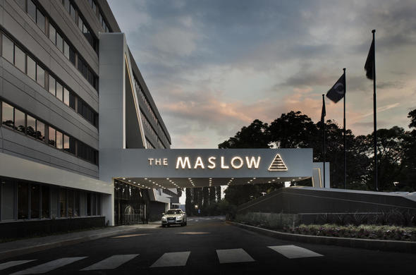 Exterior of the Maslow Hotel.