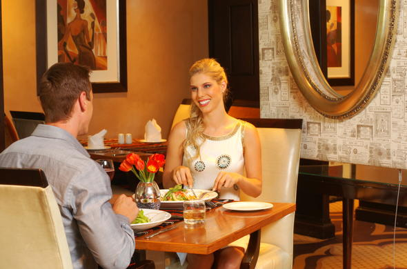 Dine in the cosy restaurant at Southern Sun, Katherine Street, Sandton.